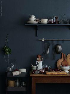 Ideas For Kitchen Ikea Black Dark Walls Interior Desing, Interior Exterior, Interior Inspiration, Modern Interior, Ikea Kitchen Design, Kitchen Interior, Interior Office, Kitchen Ideas, Room Kitchen