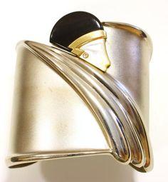 Erte Art Decó silver and onyx diamond cuff