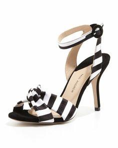 PAUL ANDREW Wisteria Striped Ankle-Wrap Sandal, Black/White