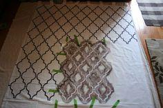 How to stencil fabric. Ballard Designs curtain knockoff with our Casablanca Trellis stencil