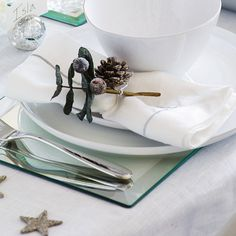 Linen Napkin with Silver Cord - Set of 4 | The White Company #whitechristmaswishlist