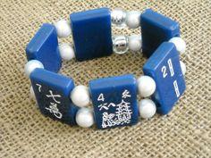 Navy Blue Mahjong Bracelet - Mahjong Jewelry - Oriental Bracelet by MahjongJewelry on Etsy