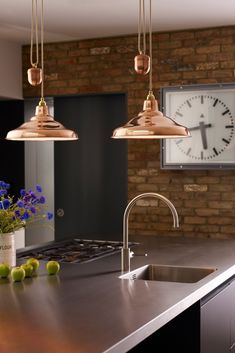 Available from Inspyer Lighting. Industrial style Spun School rise and fall pendant lights by Davey Lighting are available in either aluminium or copper. Kitchen Lighting Design, Luxury Kitchen Design, Luxury Kitchens, Copper Kitchen, New Kitchen, Kitchen Ideas, Kitchen Decor, Plain English Kitchen, Davey Lighting