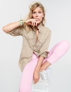 J.Crew Looks We Love: men's Wallace & Barnes Makin Island garment-dyed chino shirt, women's Toothpick garment-dyed jean, Italian silk scarf in California map print and Tretorn® Tournament net sneakers.