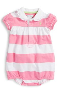 Ralph Lauren Stripe Ruffle Romper (Baby Girls) available at #Nordstrom
