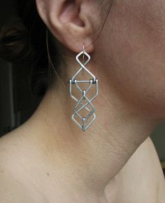 Mechanical Earrings - Diagram Design - Aluminum  - Inspired by Architecture, Modernism , and Art Deco. $35.00, via Etsy.