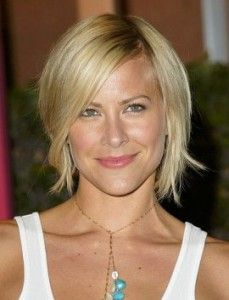 One of the most fabulous styles which will improve fine and flat hair instantly is having your hair cut short with layers and a long side fringe put in. (Brittany Daniel pictured)
