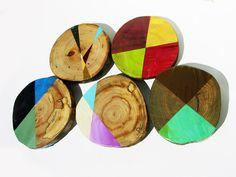 Items similar to Five Original Paintings Mid Century Modern Art on Repurposed Wood on Etsy