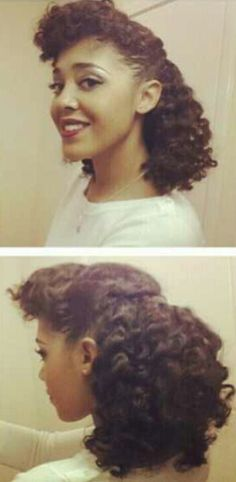 Cute pinned up twist out that would look cute on all ages.