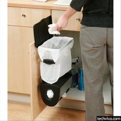 Built-In Kitchen Bin and Carrier Bag Holder - http://99covers.com/blog/simple-ideas-that-are-simply-genius-part-14/