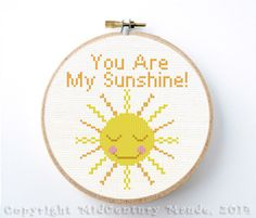 Smiling Sun Cross Stitch Pattern Instant Download Cute You Are My Sunshine PDF Digital Needlepoint by MidCenturyMaude on Etsy https://www.etsy.com/listing/174850783/smiling-sun-cross-stitch-pattern-instant
