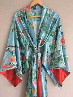 ec18f3dfa3 Château de Chantilly 1 custom blue Chinoiserie birds long robe in azure  satin. French Rococo Vintage style kimono robe. Tall Curvy women