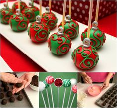 These festively Ornament Cake Pops will add a sophisticated touch to your holiday table.  Check recipe--> http://bit.ly/11Kp57F