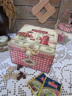 """Короб """"Cuisine"""" - ярко-красный,коробка для чая,короб для хранения,кухня"""