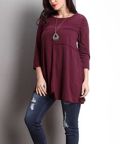 Another great find on #zulily! Plum Patchwork Tunic - Plus #zulilyfinds