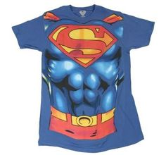 The licensed Superman T-shirt features a stylized logo and Superman's muscular chest and abs screen printed on.