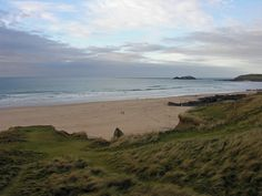 The beach at Gwithian Towans, Godrevy Island and Godrevy Point