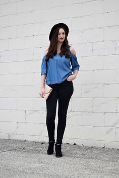 Chambray Cold Shoulder Top, Black Skinny Jeans, Blush Pink Clutch, and Black Wool Fedora Winter Outfit