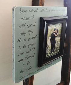 Personalized Wedding Frame 13 x 13 Parents of the Groom Gift CUSTOM Wedding Present