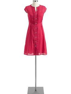 Women's Pintucked Linen Shirt-Dresses