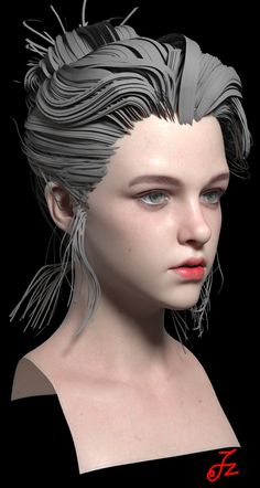 ArtStation - Girl head practice, Felix zou (With images) 3d Model Character, Game Character Design, Character Modeling, Character Art, 3d Modeling, Girl Face, Woman Face, 3d Face Model, Anatomy Sculpture