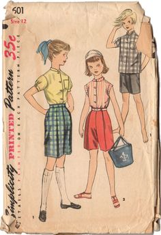 Vintage 1950s Girls Bermuda Shorts Pattern Short Sleeve Shirt Simplicity Sewing Pattern 1601 Waist 25