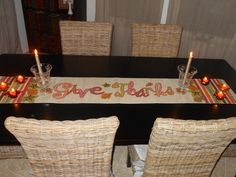 love the simplicity of the table Give Thanks