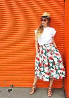 d815c06d83 Tropical Midi Skirt   Hawaiian Floral Print   Pleated Midi Skirt - Handmade  by FallFellFallen