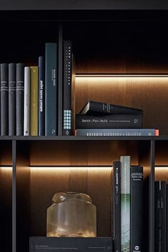 Poliform's Wall System Bookcase is a sophisticated wall unit, allowing for a wide range of design solutions for varying architectural environments. Shelving Design, Shelf Design, Interior Lighting, Lighting Design, Joinery Details, Muebles Living, Interior Architecture, Interior Design, Display Shelves
