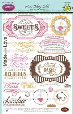 JustRite Clear Stamp - Home Bakery Labels, The Stamp Simply Ribbon Store Bakery Menu, Home Bakery, Bakery Ideas, Vintage Tags, Vintage Labels, Scrapbook Expo, Scrapbooking, Ribbon Store, Cupcake Boxes