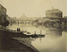 1868/75 Molins Pompeo (attr.) Vista dal Tevere all' altezza di ponte S. Angelo con S. Pietro sullo sfondo e Castel S. Angelo in primo piano sulla destra