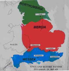 England in the time of King Alfred's father Uk History, British History, World History, Anglo Saxon Kingdoms, Ancient English, Anglo Saxon History, Vikings Time, Map Of Britain, Map Diagram
