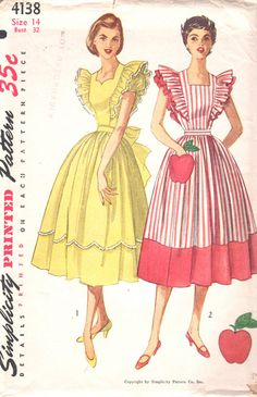 Simplicity 4138 1950s Misses Dress and Pinafore Dress with apple pocket and full skirt sweetheart or square neck womens vintage sewing pattern by mbchills