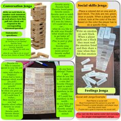 Jenga ideas - social skills, fun conversations, anger management skills, emotions-  fun family game.