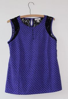 NWOT Ann Taylor LOFT Sz XS Purple & Black Polka Dot Lace Keyhole Blouse #AnnTaylor #LOFT #Blouse #RVATreasures #purple #Embroidered #Church #Sleeveless #Women #ladies #Spring #Summer #Fashion #Affordable #Work #Weartowork #casual #office #Church #Party #Nightout #Pleated #Beautiful #Fashion #urban #Chic #boho #Hippie #blouse #lace #black #polkadot #dot