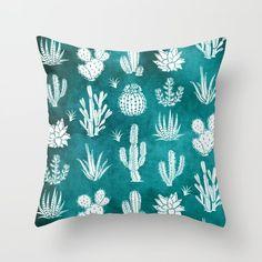 Cactus Pattern on Teal Throw Pillow by madlove Teal Throws, Teal Throw Pillows, Colorful Pillows, Western Rooms, Ideas Dormitorios, Buy Cactus, Cute Bedroom Ideas, Cactus Decor, Cricut