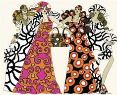 Vintage 60s Marimekko Fashion Illustration - combination of gouache and watercolour is evident, with the vivid print of the 60's engaging the eye. Fun colour play and patterning.