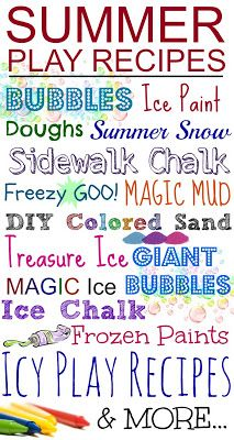 TONS of simple Summer Play Recipes & FUN ways to play- bubbles, sidewalk chalk, homemade colored sand, and lots of play recipes to help kids stay cool like icy doughs, Summer Snow, ice paints, and MORE!