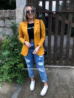 Blazer Outfits Casual, Basic Outfits, Cute Casual Outfits, Stylish Outfits, Girls Fashion Clothes, Winter Fashion Outfits, Look Fashion, Look Jean, Look Blazer