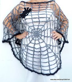 One Size Halloween Spiderweb Poncho Gothic Grunge Hippie Plus Size Women's Clothing Maternity Halloween Costume