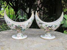 Antiques Atlas - Super Pair Of Crescent Shaped Glass Vases C1870 Crescent Shape, Opaline, Antique Glass, Vases, Glass Vase, Hand Painted, Antiques, Beautiful, Antiquities