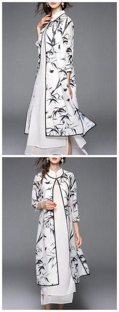 White Sleeve Cotton-blend Two Piece Midi Dress Stylewe Modest Fashion, Hijab Fashion, Girl Fashion, Fashion Dresses, Pakistani Dresses, Indian Dresses, Indian Outfits, Kurta Designs, Blouse Designs