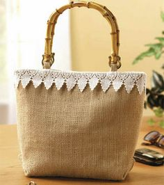 "Lace-Trimmed Burlap Purse. - If instructions seem to be in a foreign language, click on ""Download Project PDF"" for clear instructions."