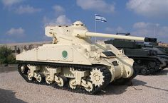 Captured Egyptian M4 Sherman tank with AMX-13 tank turret