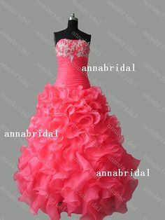 Coral Red Long Prom Dresses Strapless Thickorganza by Annabridal