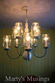 Mason jar down-home style chandelier | 19 Most Viewed Mason Jar Ideas Of 2013!