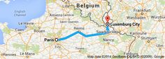 FROM: Paris, France To: Luxembourg City, Luxembourg 373.6 km 3 hours  FROM