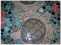 ceramic tile turtles, sea turtle tiles, land turtle tiles, ceramic tile turtle mosaic tiles