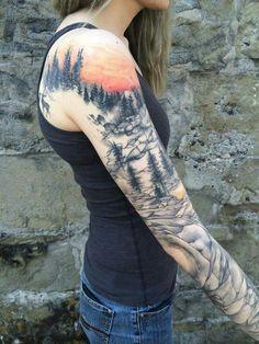 The sunset sky Mountain Sleeve Tattoo, Forest Tattoo Sleeve, Tribal Tattoos, Body Art Tattoos, Cool Tattoos, Fake Tattoos, Tattoos For Women Half Sleeve, Full Sleeve Tattoos, Nature Tattoo Sleeve Women