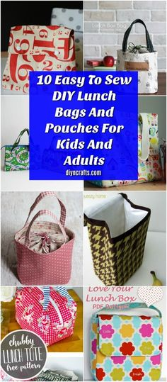 10 Easy To Sew DIY Lunch Bags And Pouches For Kids And Adults . Kinso Kitchen is offering a new Lunch bag perfect for kids and adults! Upcycled Crafts, Diy And Crafts Sewing, Crafts For Girls, Crafts To Sell, Sewing Projects, Diy Crafts, Adult Crafts, Sewing Diy, Sewing Ideas